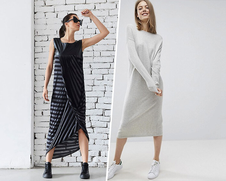 Длинное платье с черными кроссовками, фото идеи образов