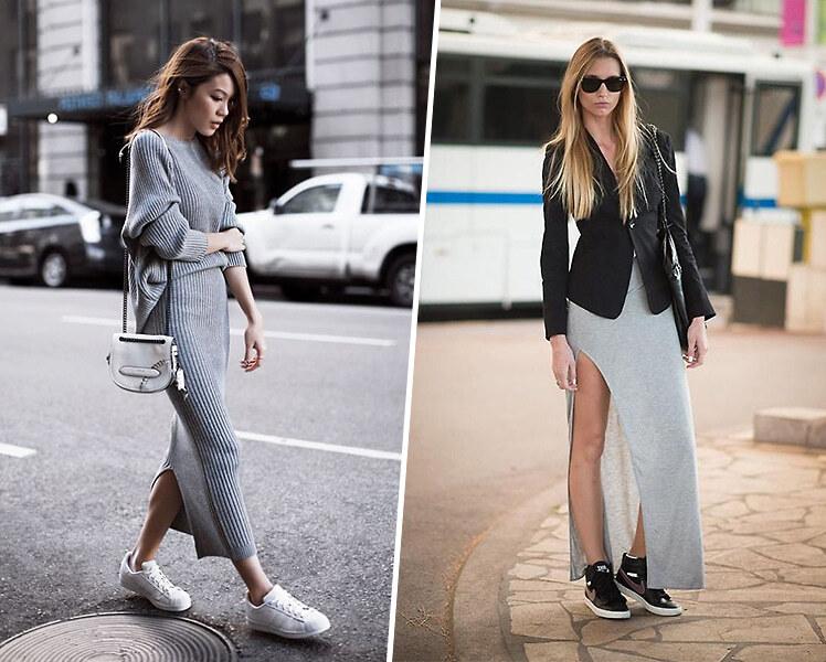 Как носить длинное платье с кроссовками