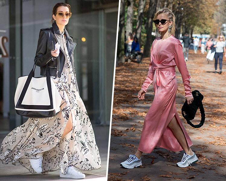 С какими кроссовками носить длинное платье