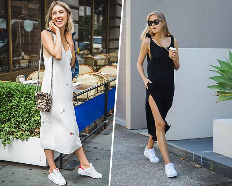 Как носить длинное платье с белыми кроссовками