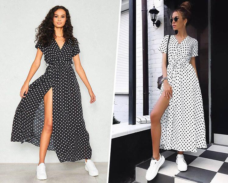 Летнее платье и белые кроссовки, фото идеи образов