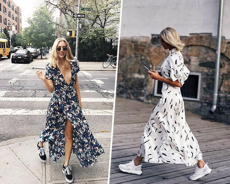 Длинное летнее платье и кроссовки, фото идеи образов