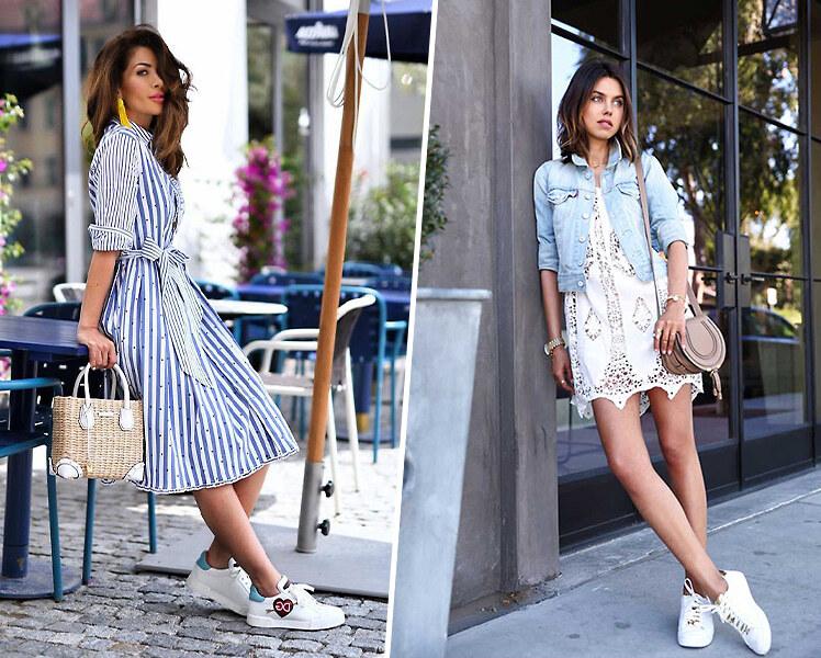 Короткое летнее платье и кроссовки, фото идеи образов