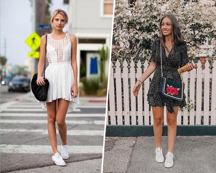 С какими кроссовками носить короткое летнее платье