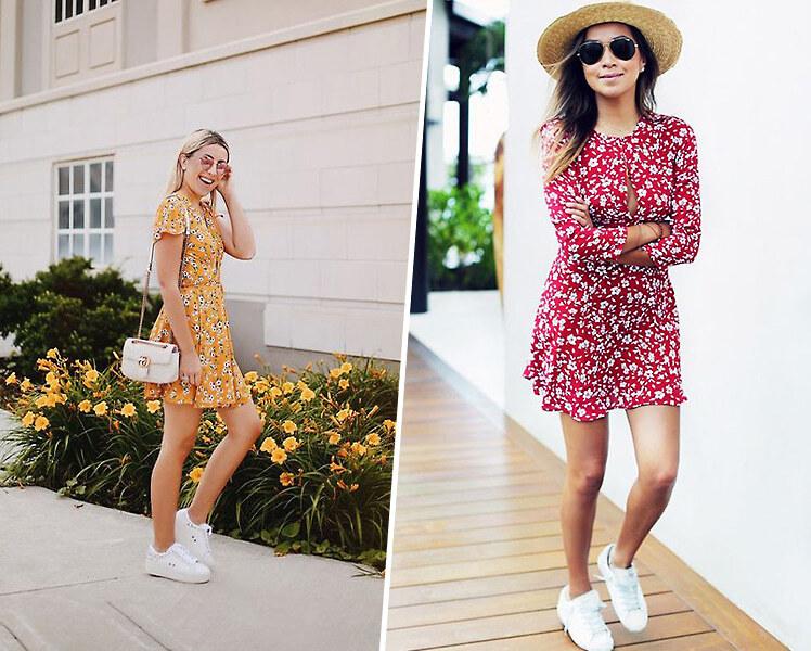 Как носить короткое летнее платье с кроссовками