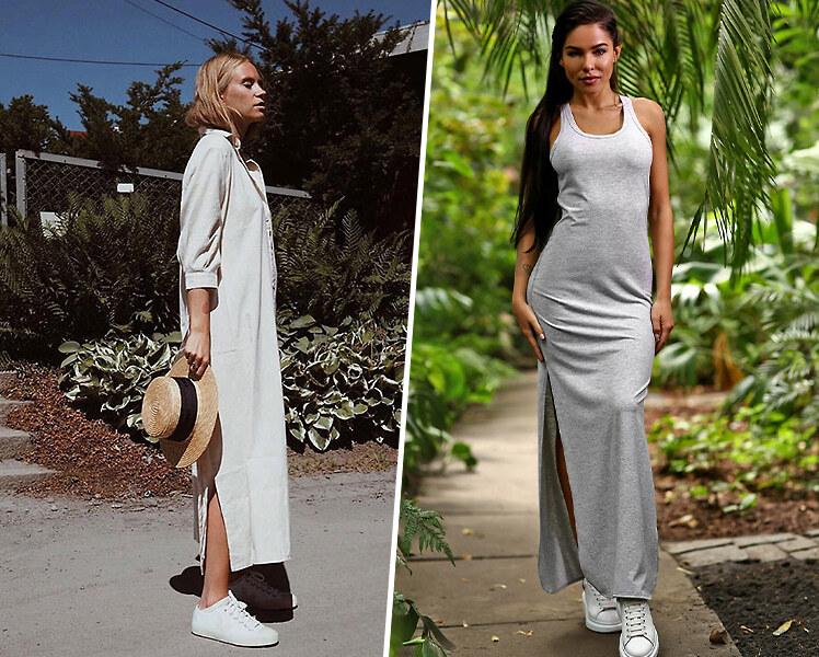 Как носить длинное летнее платье с кроссовками