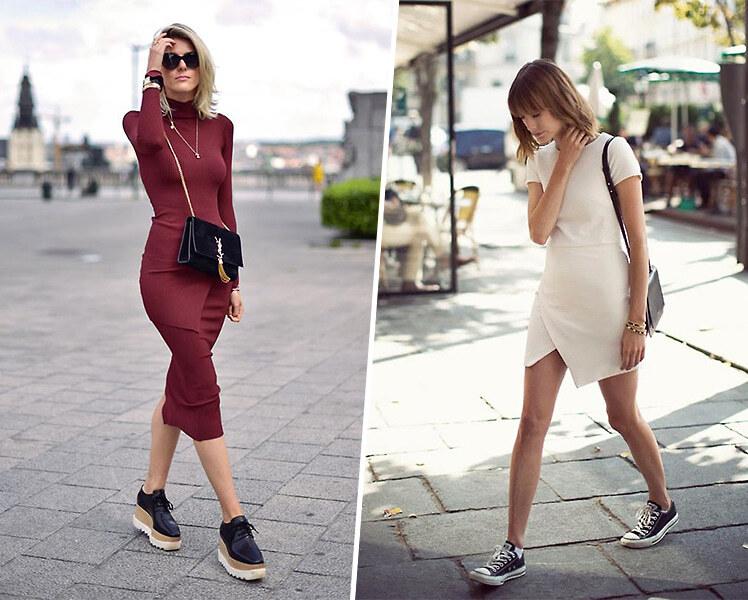 С какими кроссовками носить платье футляр