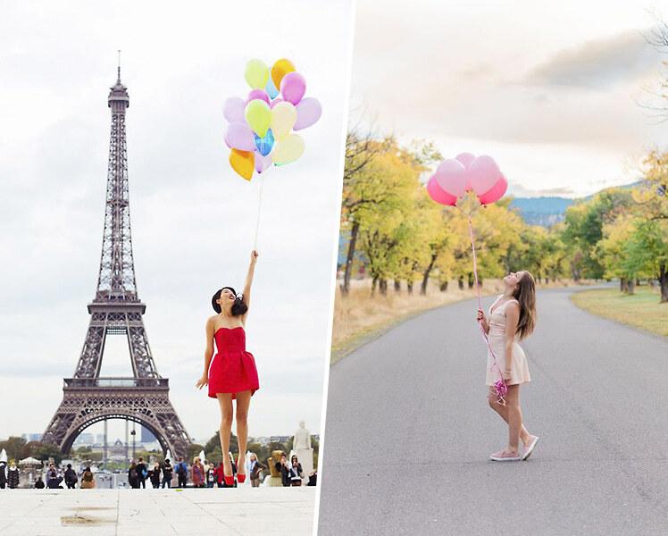 идеи фотосессии для девушки с шариками