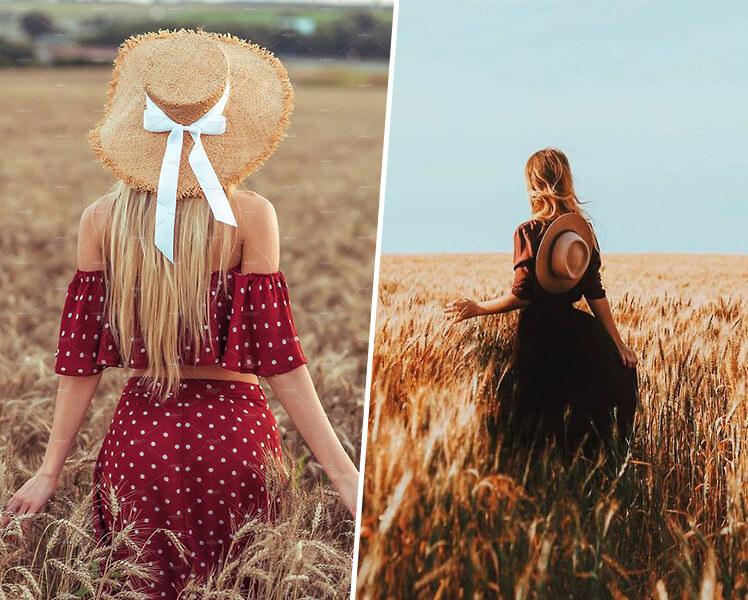 идеи для фотосессии летом на поле пшеницы