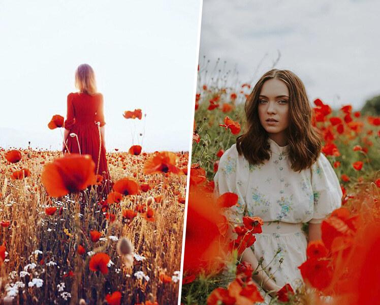 идеи для фотосессии летом в поле с маками
