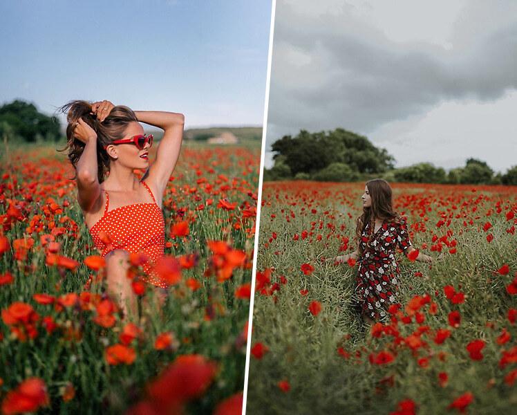 идеи для фотосессии летом в поле с цветами