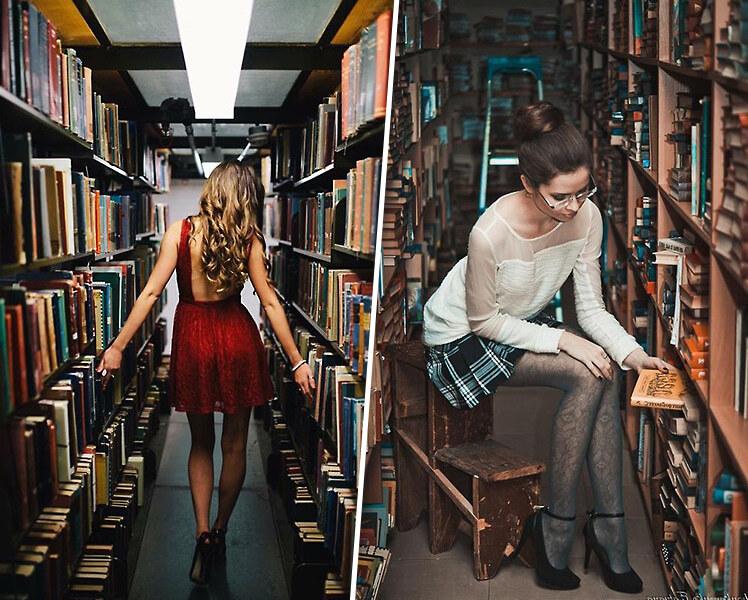 оригинальные идеи для фотосессии с книгами