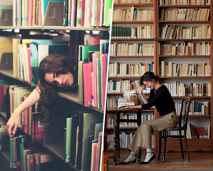 оригинальные идеи для фотосессии в библиотеке