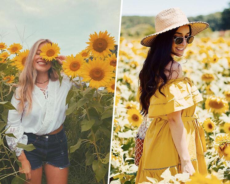 идеи для фотосессии летом в подсолнухах