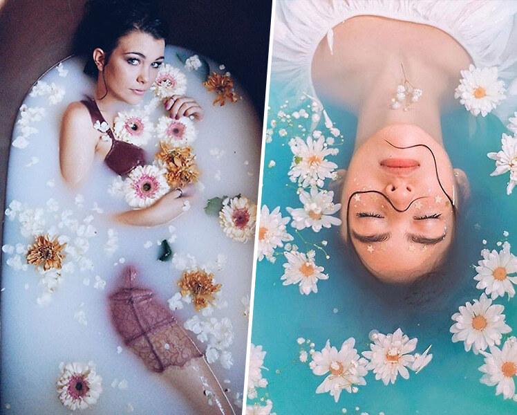 интересные идеи для фотосессии в ванной для девушек