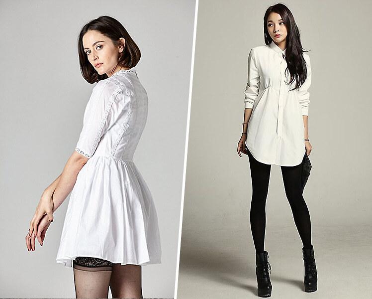 Белое платье с черными колготками