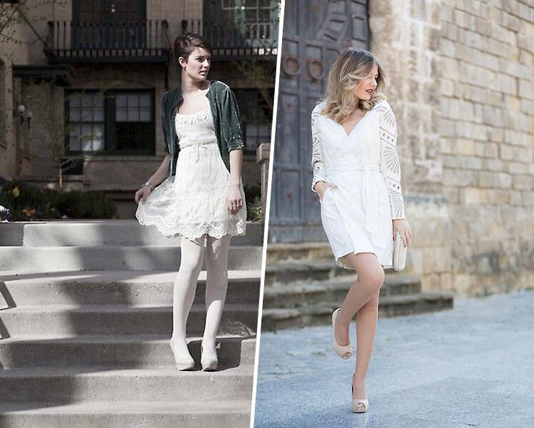 С какими колготками носить белое платье?