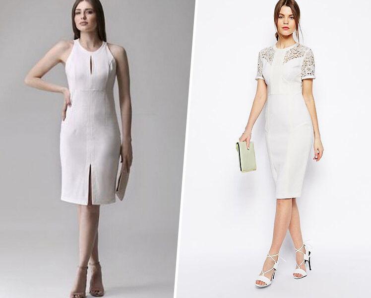 С чем носить белое платье-футляр