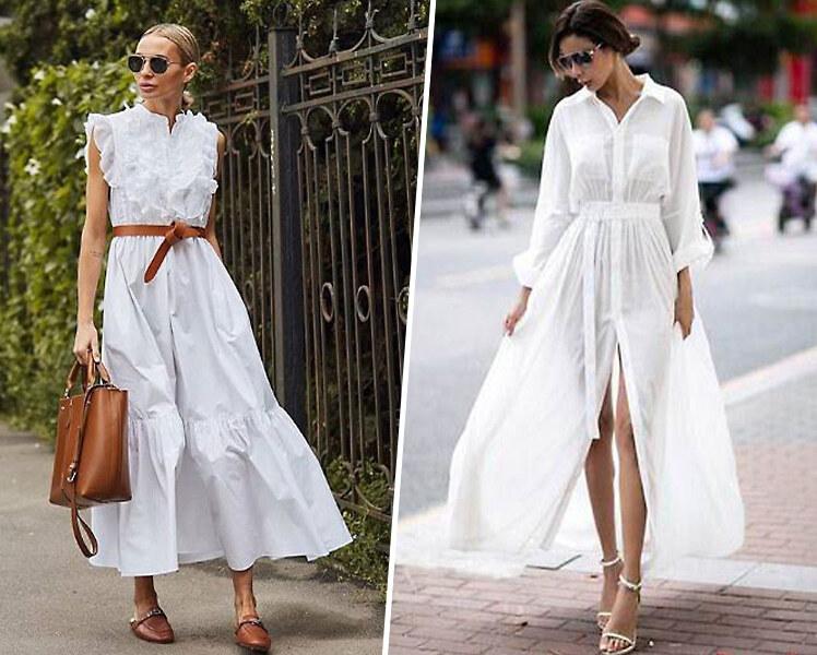 С чем носить длинное белое платье