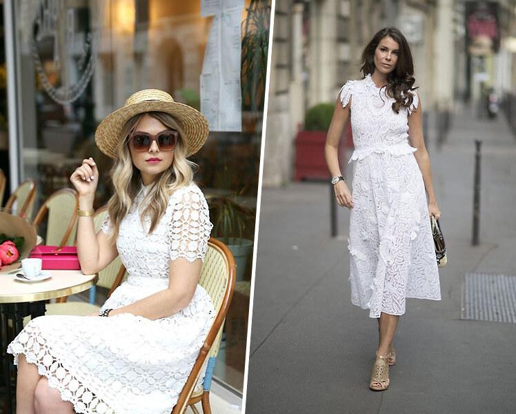 С чем носить кружевное белое платье