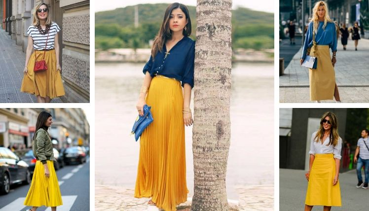 С чем носить юбки разных цветов?