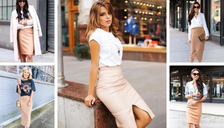 С чем носить бежевую юбку карандаш?