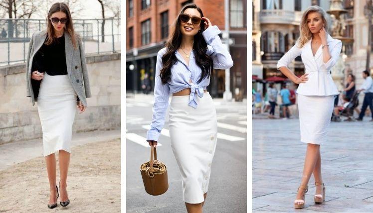 С чем носить белую юбку карандаш?