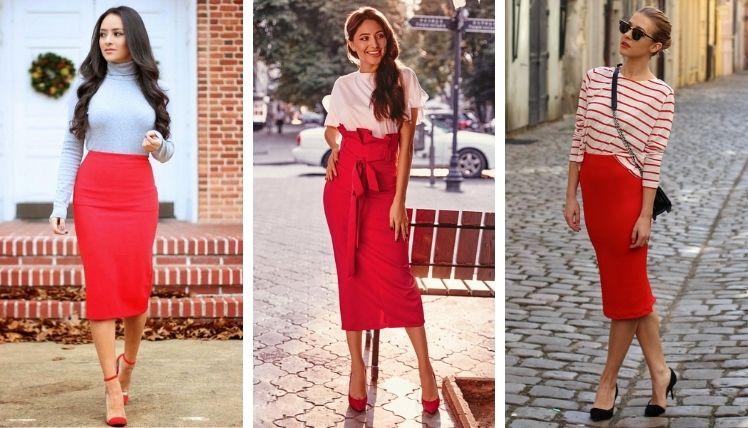 С чем носить красную юбку карандаш?