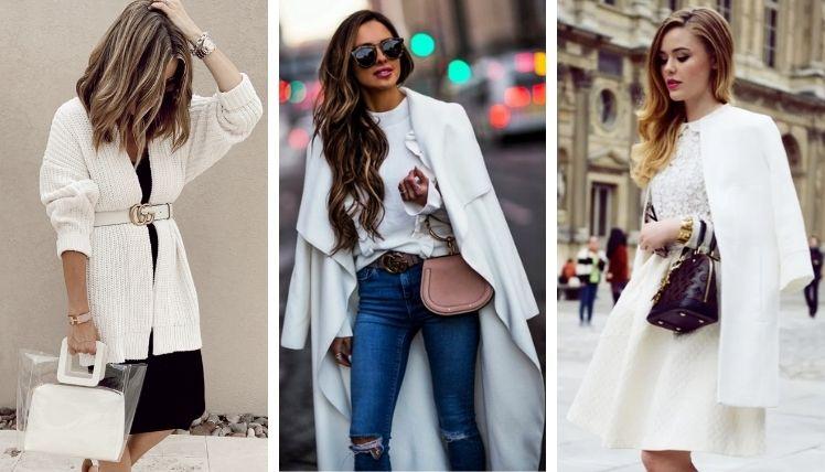 С чем носить белый кардиган?