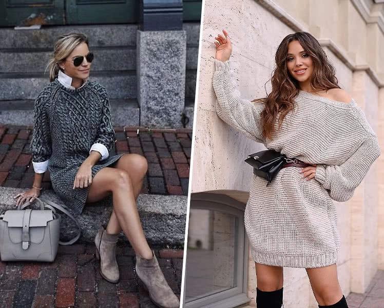 Актуальное вязаное платье на осень
