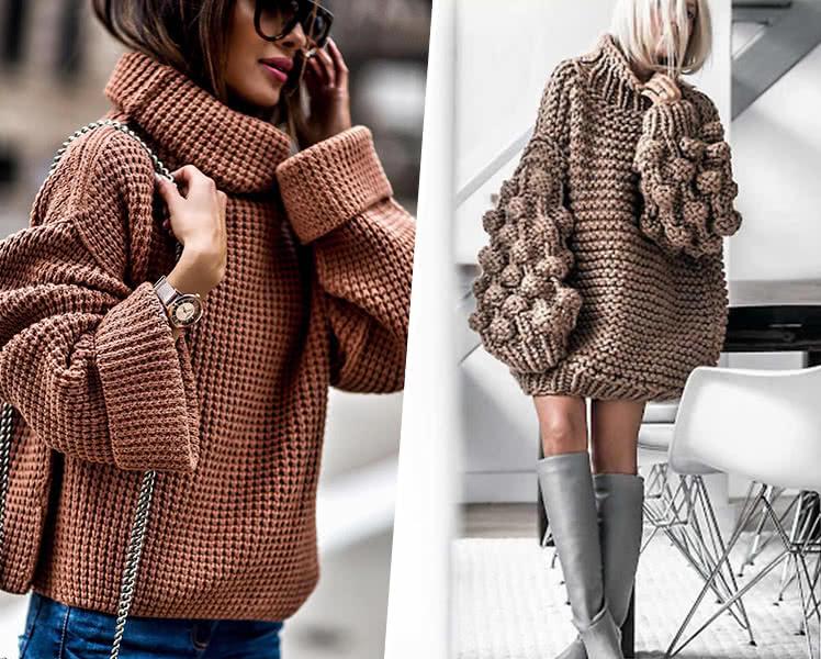 Пуловер с объемной вязкой 2020-2021