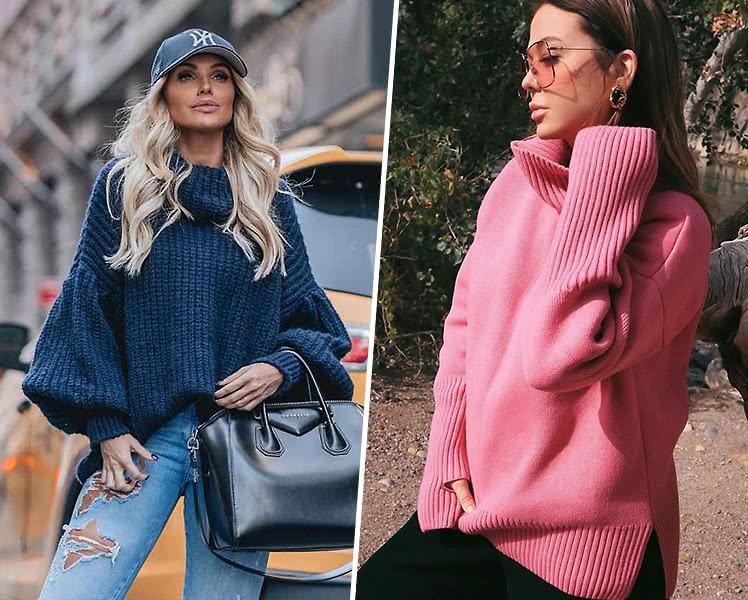 идеи образов со свитером яркого цвета