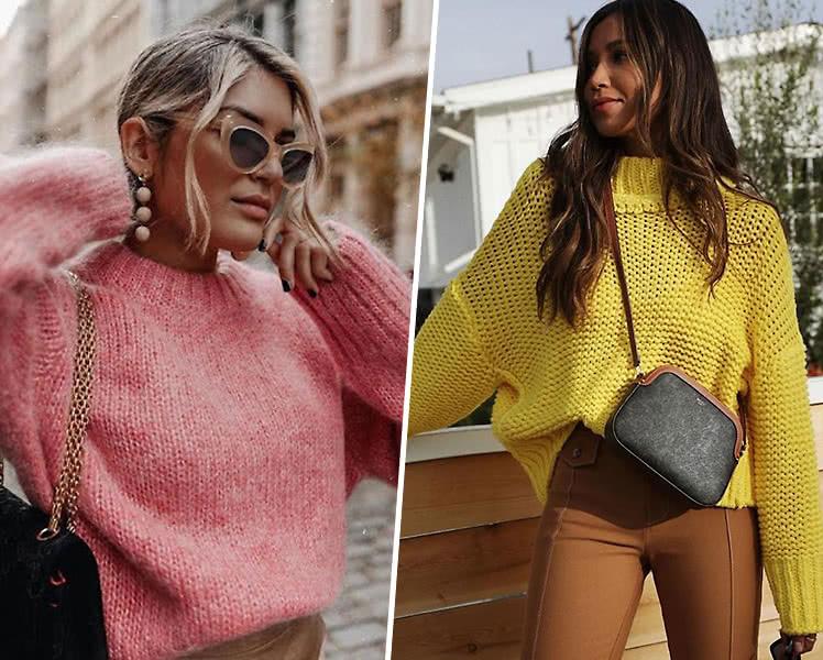 идеи образов с ярким теплым свитером