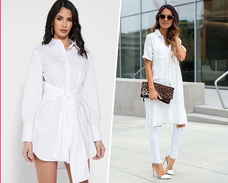 С чем носить белое платье рубашку