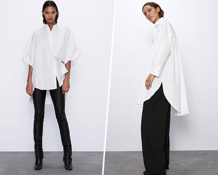 С чем носить белую рубашку оверсайз