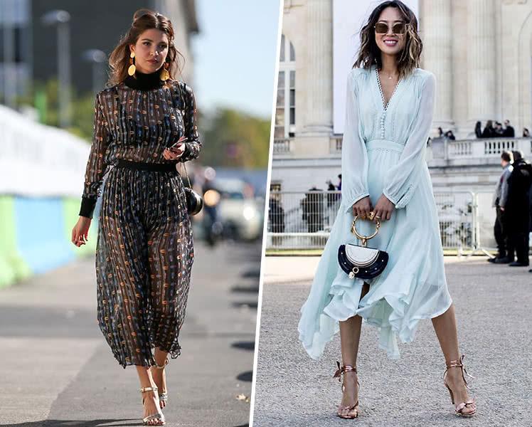 С чем носить длинные шифоновые платья?