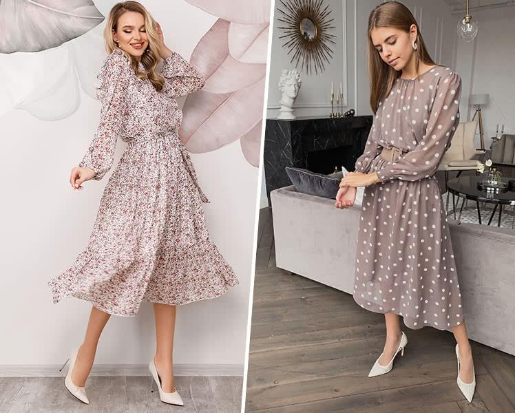 С какой обувью носить шифоновое платье в пол