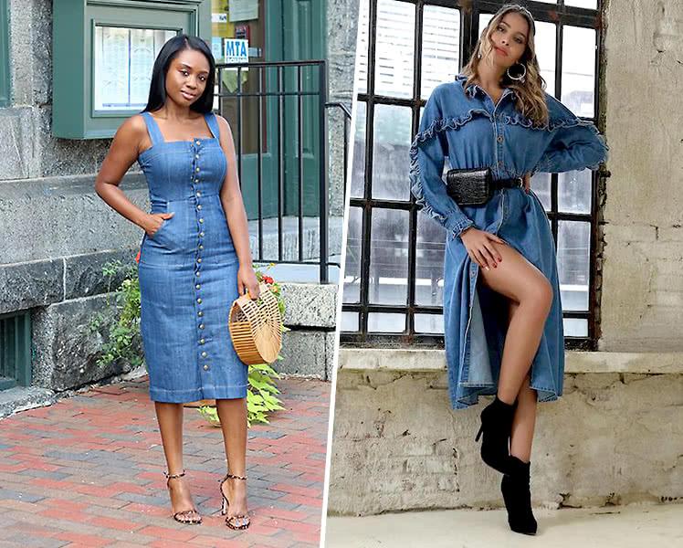 С какой обувью носить джинсовое платье