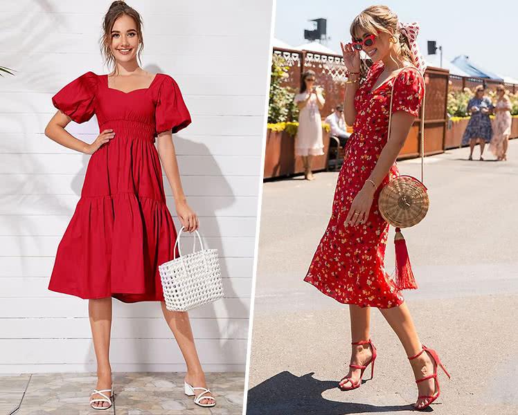 С какой обувью носить красное летнее платье