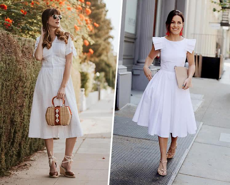 С какой обувью носить белое летнее платье