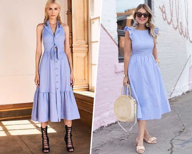С какой обувью носить голубое летнее платье