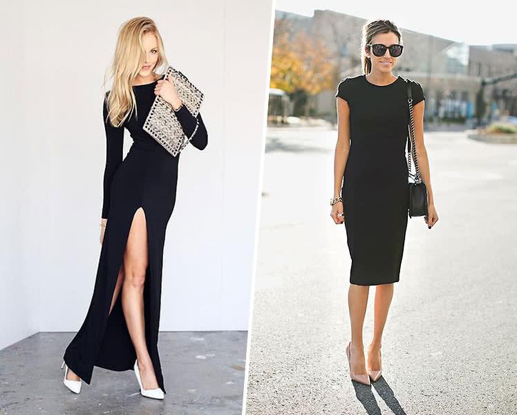 С какой обувью носить черное летнее платье