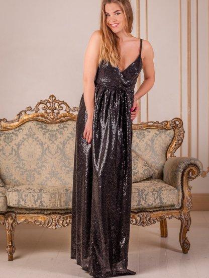 Длинное черное платье в пайетки с разрезом, фото 1