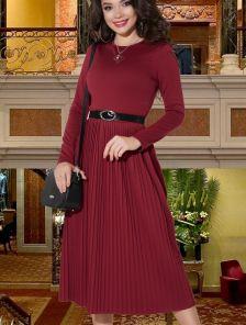 Бордовое теплое платье плиссе на длинный рукав