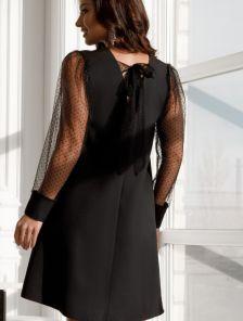 Черное вечернее платье трапеция с открытой спиной