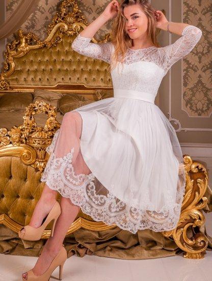 Белое короткое кружевное платье с рукавом 3/4 на роспись, фото 1