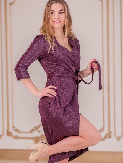 Блестящее платье миди с имитацией запаха и рукавом 3\4, фото 1