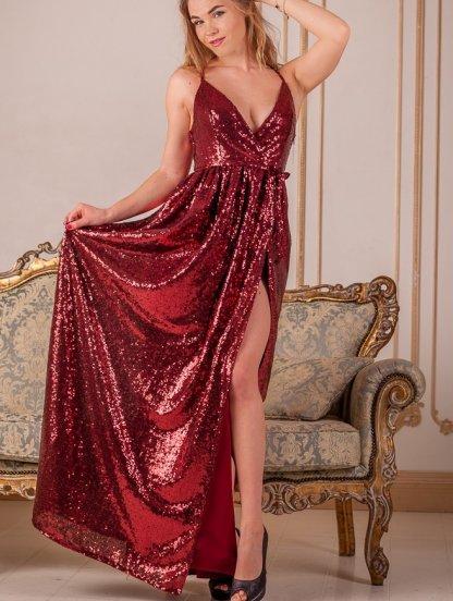 Длинное нарядное платье в пайетки с разрезом, фото 1