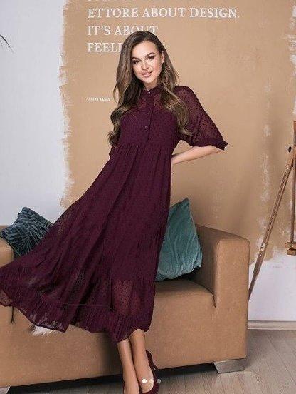 Бордовое нарядное платье двойка в горошек на длинный рукав, фото 1