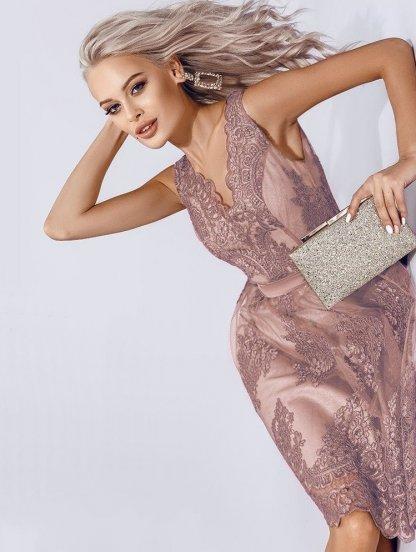 Кружевное ассимеричное платье с V-образным вырезом и поясом на талии, фото 1
